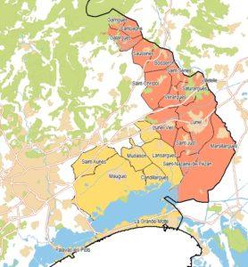Carte de l'est héraultais