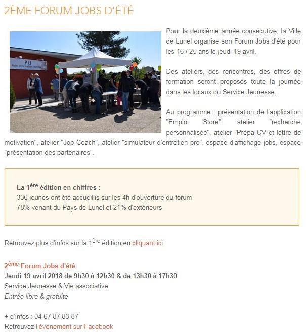 forum jobs d'été PIJ Lunel 2018